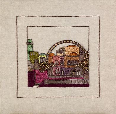 JERUSALEM PANORAMA-CHURVA-Original Hand Embroidered Artwork-56x56 cm