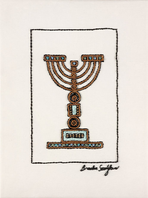 THE ORIGINAL HAND EMBROIDERED-SHORT BLUE MENORAH