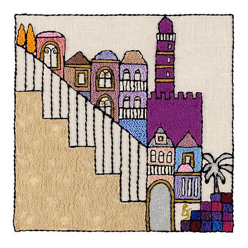 SQUARES-STEPS-Original Hand Embroidered Artwork