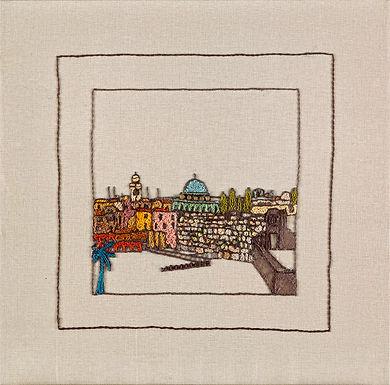 JERUSALEM PANORAMA-K0TEL-Original Hand Embroidered Artwork-56x56 cm