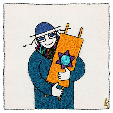 CHALMER TORAH MAN-The Original Hand Embroidered Artwork