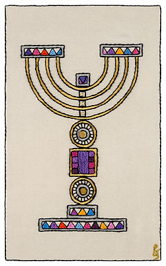 COLORED MENORAH-Mounted Stretched Canvas-35x58-Archival Print