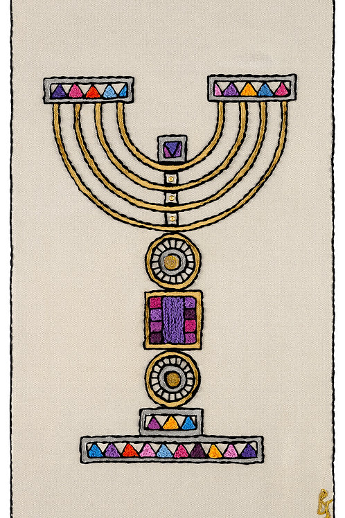 COLORED MENORAH-Original Hand Embroidered Artwork-35x58 cm