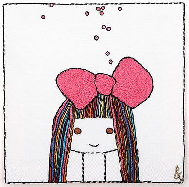 THE ORIGINAL HAND EMBROIDERED-COLORED BOW GIRL