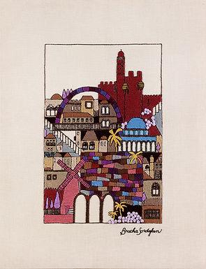 TALL MAROON JERUSALEM-The Original Hand Embroidered Artwork-90x120 cm