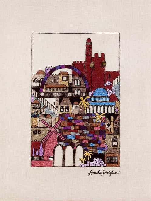 TALL MAROON JERUSALEM-The Original Hand Embroidered Artwork-90x120 cm