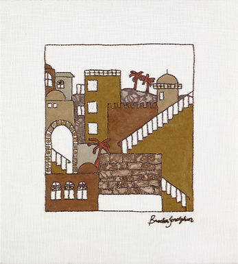 SUEDE JERUSALEM-The Original Hand Embroidered Artwork-62x70