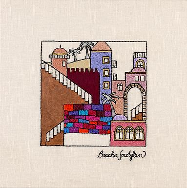 JERUSALEM STEPS-2-Original Hand Embroidered Artwork