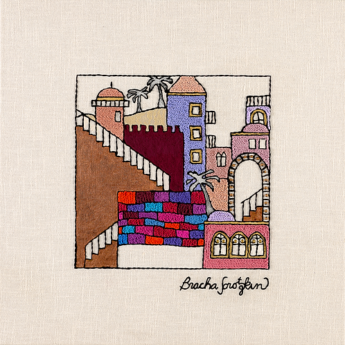 JERUSALEM STEPS-2-Original Hand Embroidered Artwork