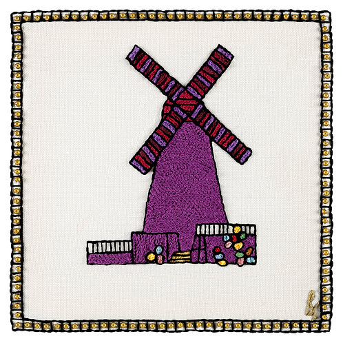 THE NEW WINDMILL SYMBOL-Original Hand Embroidered Artwork
