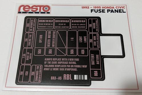 1992-1995 Honda Civic Engine Fuse Label Kit ONLY