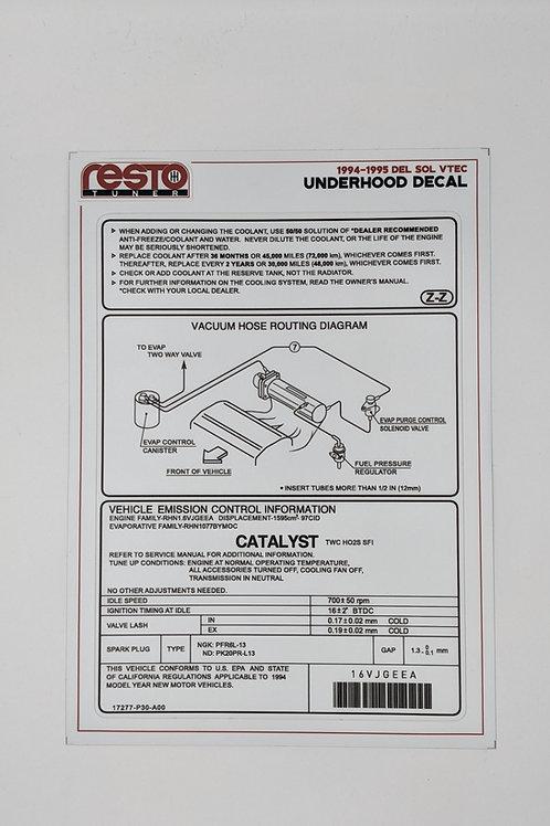 1994 -1995 Del Sol VTEC (B16) Underhood Decal