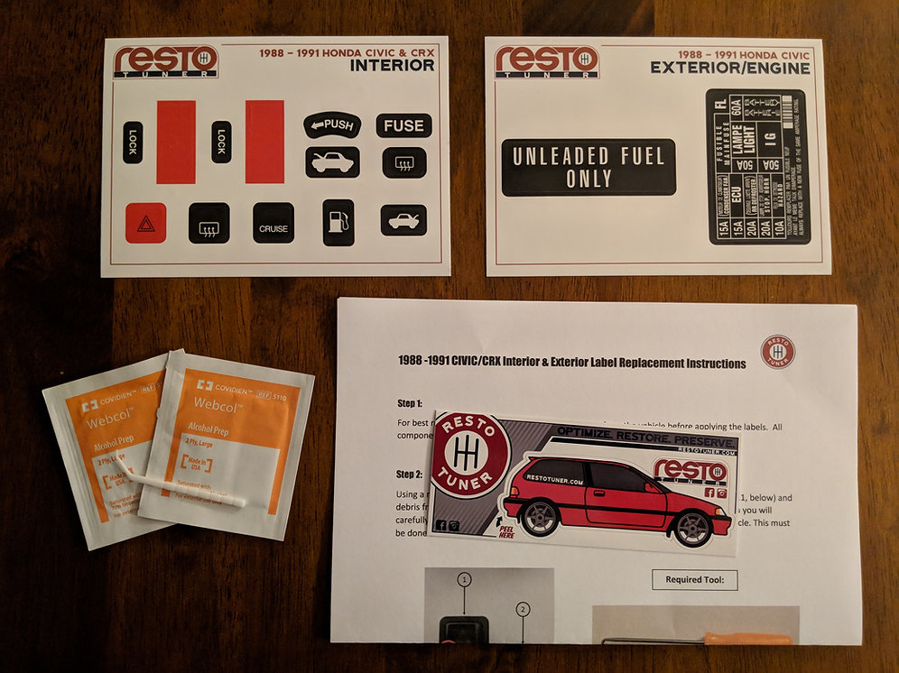 19881991 Honda Civic Interior   ExteriorEngine Label Kit