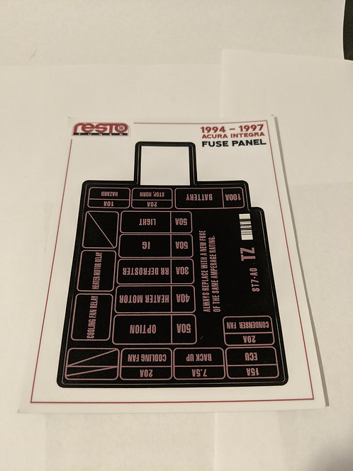 1994 - 1997 Integra Engine Fuse Label