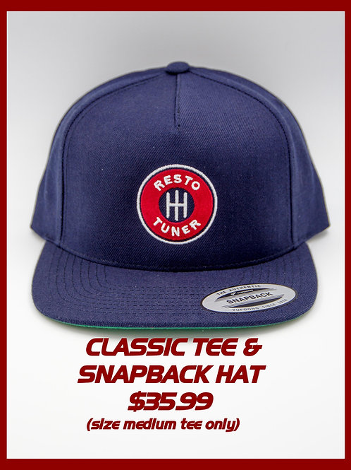Resto Tuner Classic Snapback Hat & Tee (Size M Tee Only)