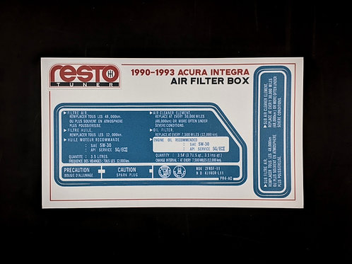 1990 - 1993 Integra Air Filter Box Decal