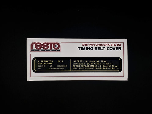 1988-1991 Civic/CRX DX & Si Timing Cover Decal