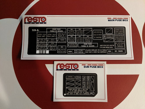 2002-2005 S2000 Engine Bay Fuse Box Decal Kit