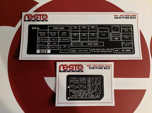 2008-2009 S2000 Engine Bay Fuse Box Decal Kit