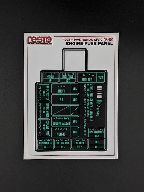 RHD 1992-1995 Honda Civic Engine Fuse Label Kit ONLY