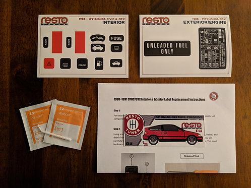 1988-1991 Honda CRX Interior & Exterior/Engine Label Kit