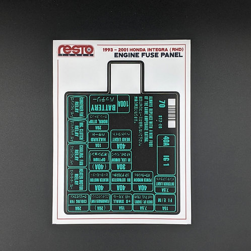 RHD 1993 - 2001 Integra Engine Fuse Label - Version 2