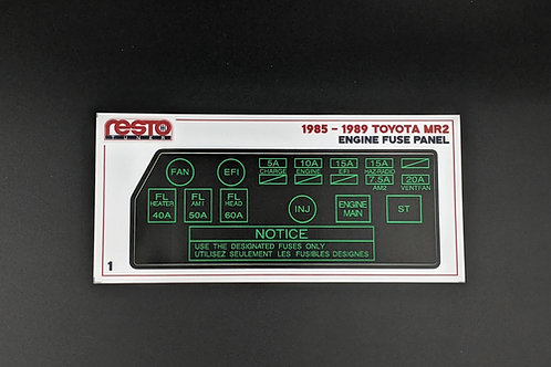 1985 - 1989 Toyota MR2 Engine Fuse Box Decal- Version 1