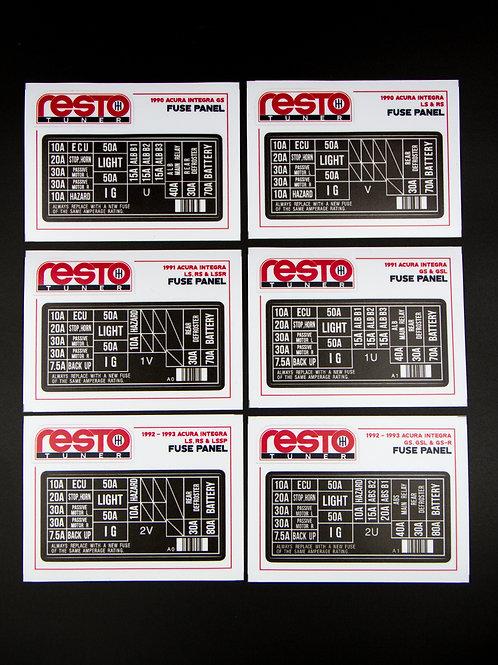 1990 - 1993 Integra Engine Fuse Label
