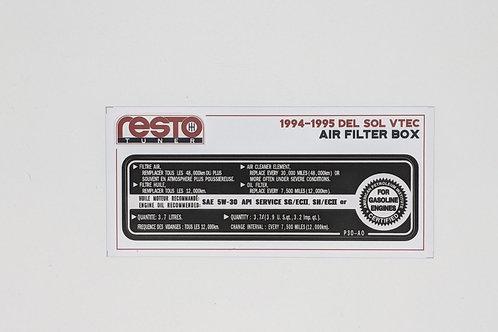 94 - 95 Del Sol VTEC (B16) Air Filter Box Decal
