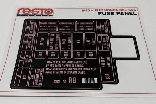 1993-1997 Honda Del Sol Engine Fuse Label Kit ONLY