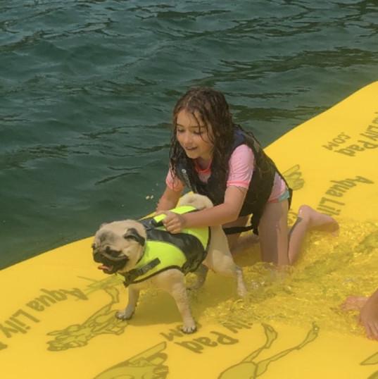 Aqua Lily Pad girl dog.jpg
