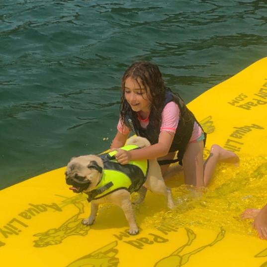 Aqua Lily Pad Girl with dog.jpeg
