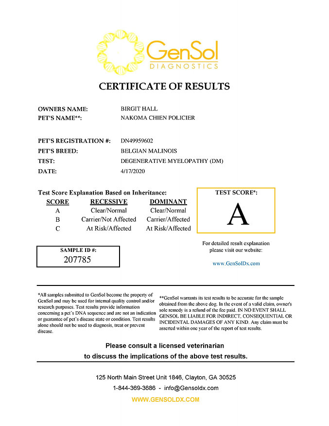 DM Results Nakoma Chien Policier