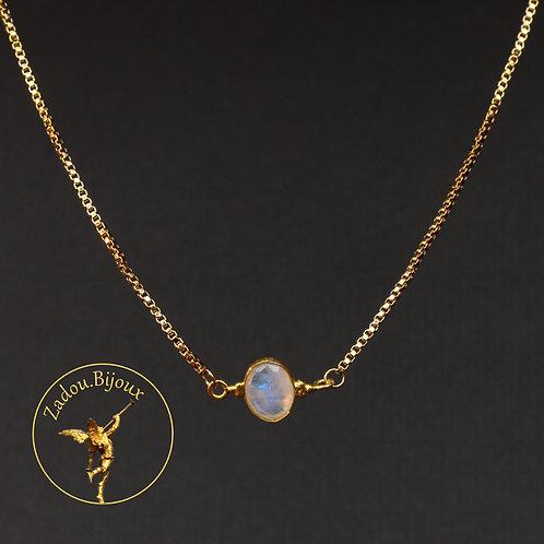 #091 Collier connecteur pierre de lune doré