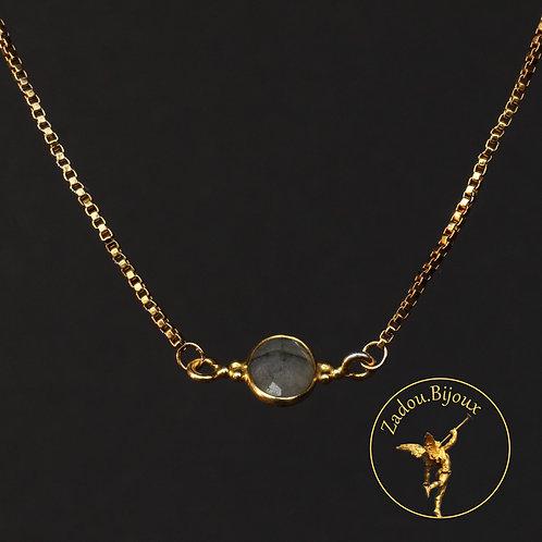 #072 Collier connecteur labradorite doré