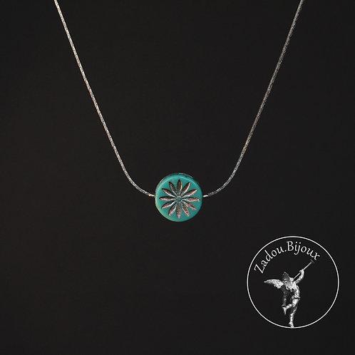 #084 Collier Hibiscus argenté