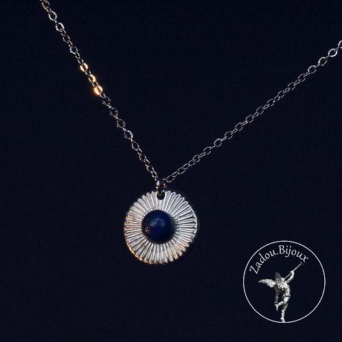 #076 Collier médaille Lapiz argenté