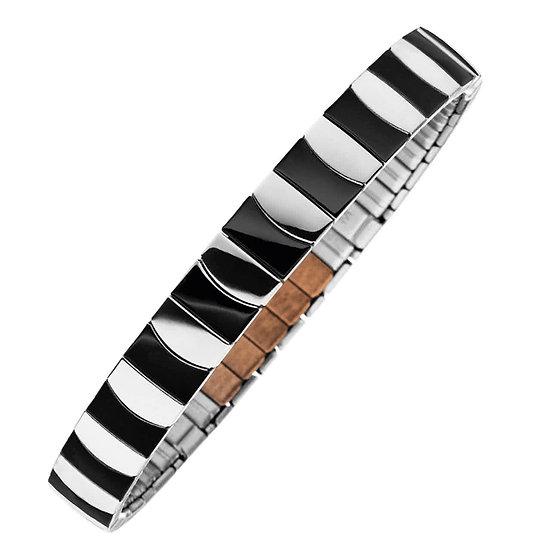 Bracelet flexi bicolore couleur argent/noir