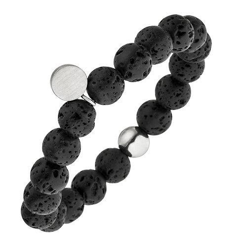 Bracelet magnétique élastique réalisé en perles de lave noire