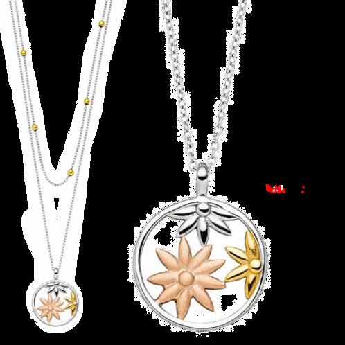 Double chaîne magnétique, motif fleurs de jasmin, tricolore
