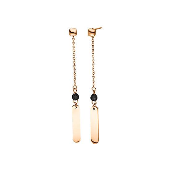 Boucles d'oreilles magnétiques rose avec les perles de lave