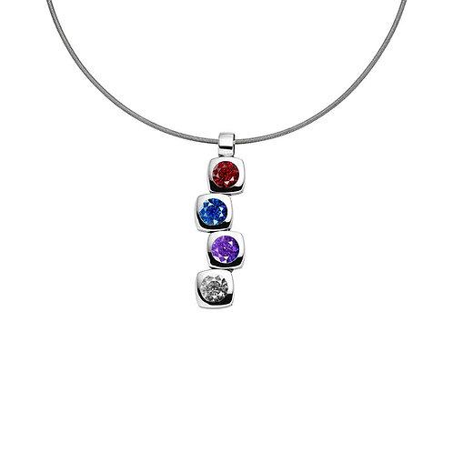 Pendentif magnétique design cubique avec quatre pierres de zircone