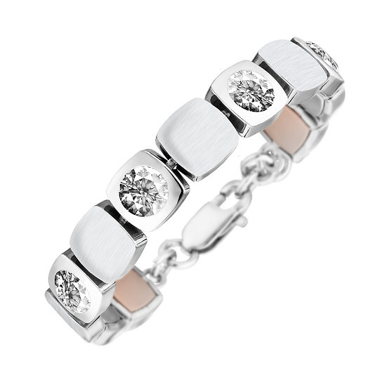 Bracelet magnétique design cubique mat/brillant