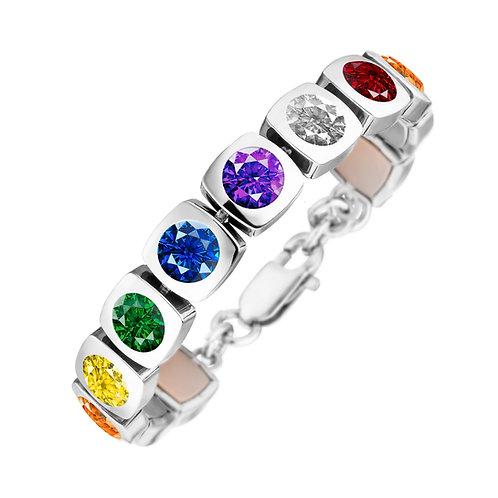 Bracelet magnétique Design cubique avec couleurs chakra