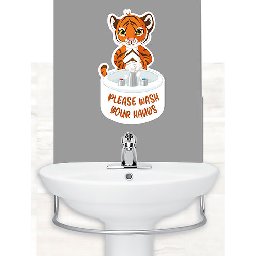 Creche/School: Tiger Wash Your Hands Wall Sticker