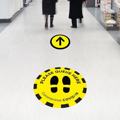 Coronavirus COVID-19: Circle Queue Here Floor Stickers
