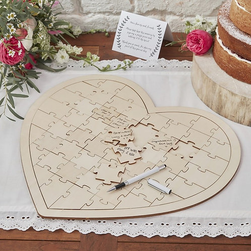 Wooden Jigsaw Guestbook Alternative - Boho