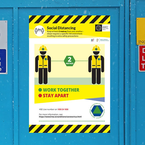Coronavirus COVID-19 CIF Construction Site Safety Sign - Social Distancing