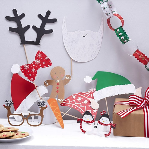 Festive Family Photo Booth Party Props - Santa & Friends