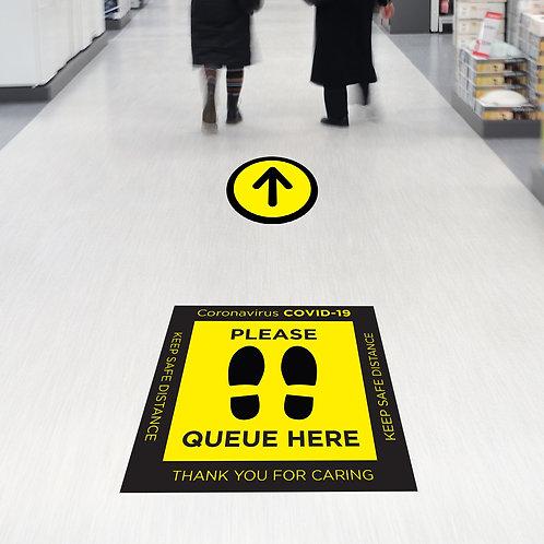Coronavirus COVID-19: Square Queue Here Floor Stickers